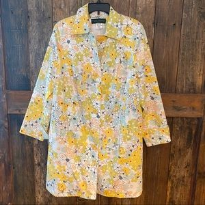 Harve 14W Yellow Cotton Floral Summer Trench Coat
